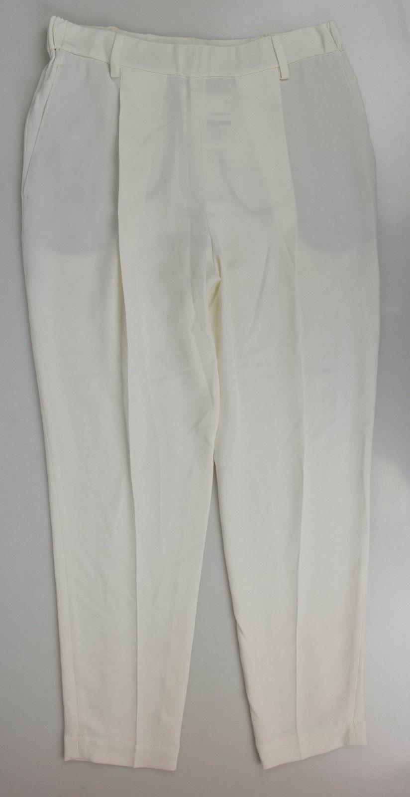 Ny BRUNELLO KUCINELLI Vit siden Bled Pleed Dress Pants Storlek 44  8  925