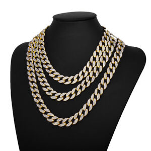 18K-Plated-Iced-Out-Hip-Hop-Chain-Rhinestone-8-034-30-034-Choker-Necklace-Miami-Cuban