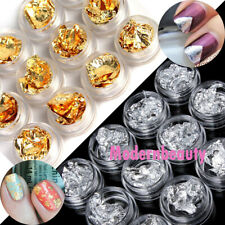 12 Pot Nail Art Glitter Gold / Silver Foils Tip Decoration Paillette Flake Chip