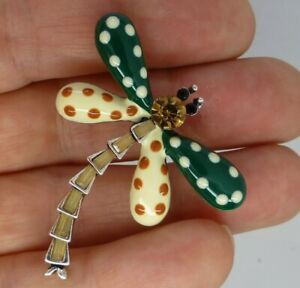 Dragonfly-brooch-enamel-crystal-green-or-yellow-spotty-design-vintage-style-pins