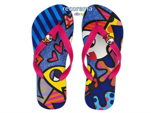 "9//10  /""DEEPLY IN LOVE/"" ROMERO BRITTO  FLIP FLOP SIZE MADE IN BRAZIL NEW"