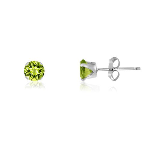 Genuine Olive Green Peridot Gemstone .925 Sterling Silver Round Stud Earrings