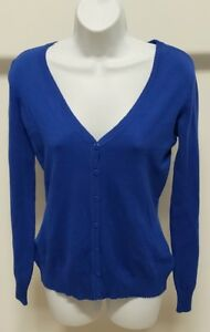 NWT-Attention-Women-039-s-Blue-Solid-Long-Sleeve-Cardigan-Sweater-Size-S