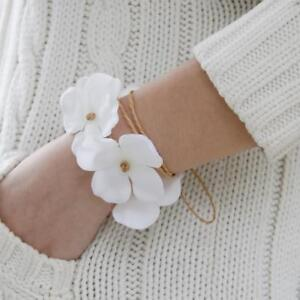 bracelet fleur poignet mariage de demoiselle d 39 honneur fille blanc ebay. Black Bedroom Furniture Sets. Home Design Ideas