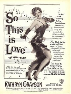 "1953 Kathryn Grayson Merv Griffin ""So This Is Love"" Movie promo print ad 