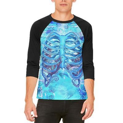 Halloween Octopus Kraken Skeleton Ribs Costume All Over Womens T Shirt