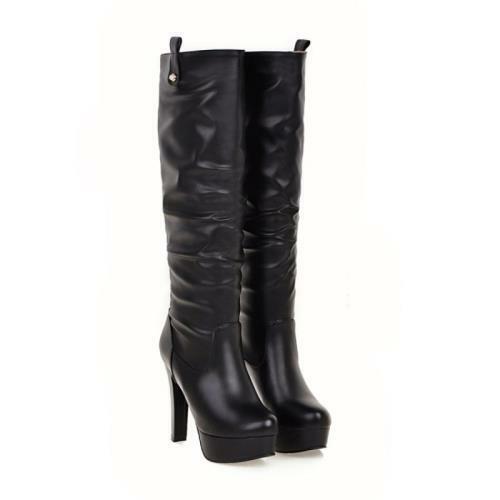 Details about  /Sexy Party Women/'s Block High Heel Platform Mid Calf Knee High Winter Boots US D