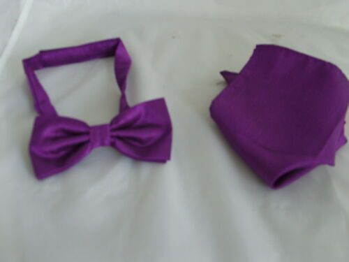 Details about  /New /<G/> Cadbury Purple Mens Polyester ready pre-tied Bow tie and Hankie Set