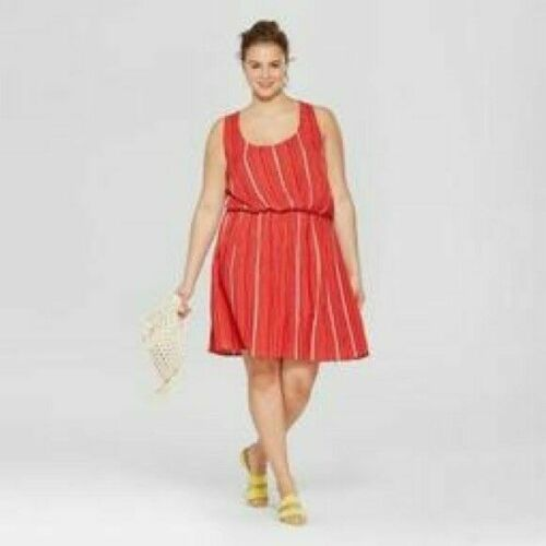 Womens Plus Size Stripped Sundress By Xhilaration X Red New with tags