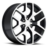 4) 24 Gmc 1500 Sierra Black Machined Denali Tahoe Chevy Silverado Wheels Rims