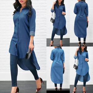 NEW-Women-039-s-Blue-Jeans-Denim-T-Shirt-Long-Sleeve-Loose-Shirt-Mini-Dress-CasuaL