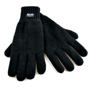 76b642013d452 Details about RJM MENS BLACK HEATGUARD THERMAL THINSULATE KNITTED WINTER  ACRYLIC GLOVES GL130