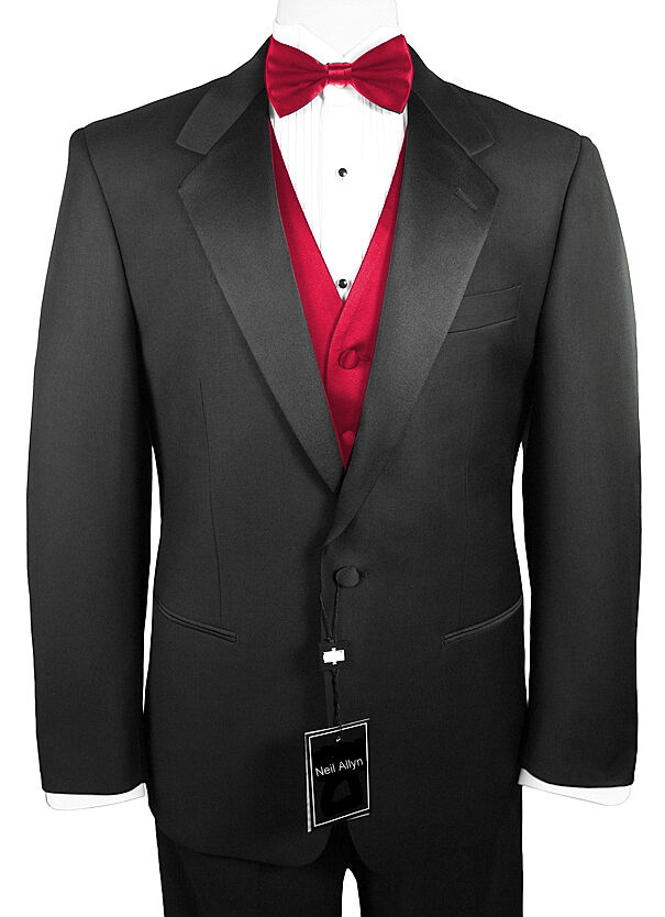 Sizes 34-64 Reg. Men's 6-Piece Tuxedo w Flat Front Pants, Red Vest & Bow-Tie
