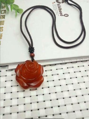 Chinese Beautiful Natural Red Jade Hand-carved Peony Flowers Jadeite Pendant