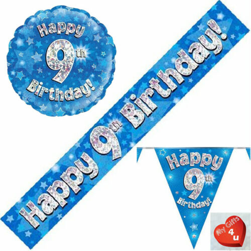 9th Birthday Flag Bunting Banners balloons Blue Party Decorations Age 9 Boys