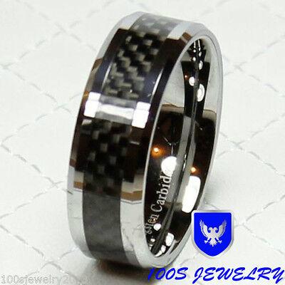 Tungsten Carbide Ring 8mm  Black Carbon Fiber Men's Wedding Band Ring Size 8-14