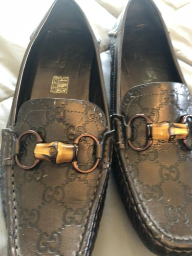 Gucci Loafer Metallic Brown Bronze Driving Moccasi
