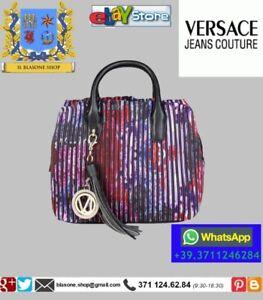 Schoudertas Stof Jeans Satchel Bag Plissè Dames Glamour Mode Hand Versace q0fCCwY