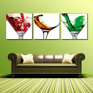 Cocktailglass Ready To Hang 3 Piece Wall Art Mounted On Mdf