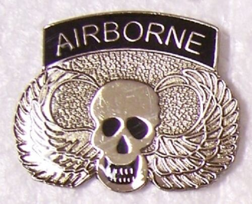 Hat Lapel Push Tie Tac Pin Airborne NEW Skull with winhgs