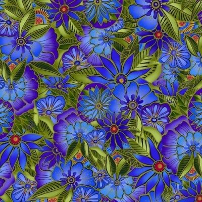 Sea Goddess by Laurel Burch from Clothworks 100/% Cotton Quilt Ocean Fabric Y2599-31 Royal Blue Floral