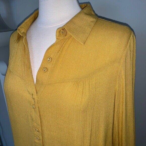Soft Surroundings mustard yellow tunic blouse Sz M - image 7