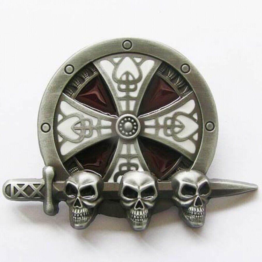 Buckle Kelten- Schild, Wikinger, Totenkopf, Skull, Gürtelschnalle