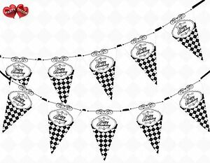 Happy Birthday Argyle Pattern Black White Theme Bunting Banner Party