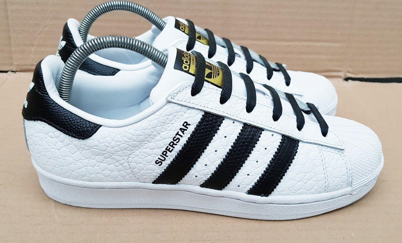 STUPENDO adidas Superstar Rettile Bianco & Nero Taglia 6 UK CONDIZIONI IMMACOLATO