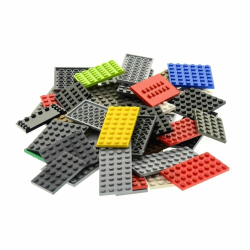 50x Lego System Bau Platten Form Farbe zufällig bunt gemischt z.B rot grün blau