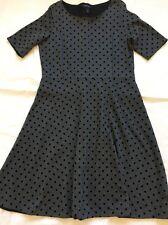 Women's Dress Lands End Size 14-16 Grey With Black Polka Dot