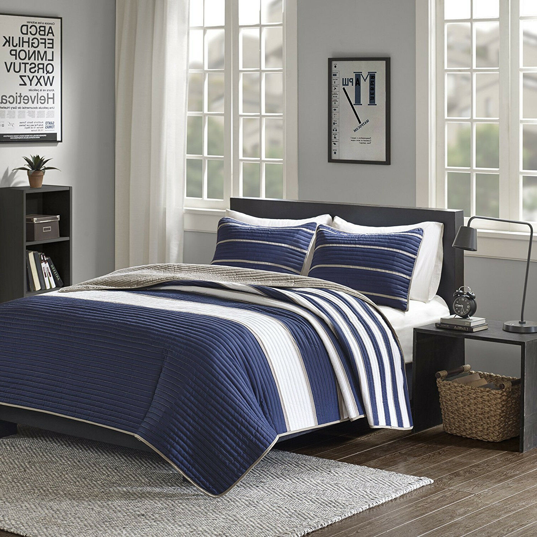 New Dorm Room Navy Weiß Khaki Stripes Quilt Coverlet 3 pcs Full Queen Set Twin