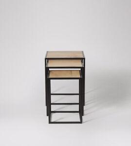Swoon Beck Living Room Modern Black Mango Wood Classic Side Table Set - RRP £229