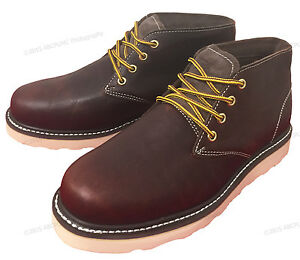 New Men's Chukka Boots Leather Wedge Tred Sole Lace Up Casual ...