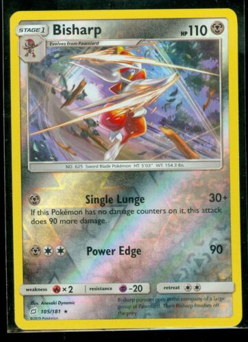 RARE Rev Holo Team Up MINT Pokemon BISHARP 105//181
