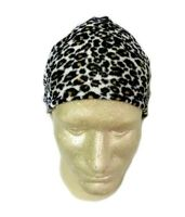 Leopard Print Fleece Chemo Cap Durag Hat Wrap One Size