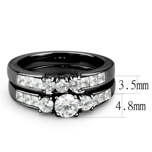 Couples Rings Black Set Womens Small Round 3 Stone CZ Ring Mens Traditional Band