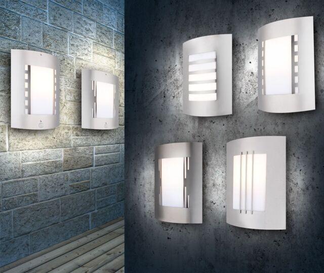 Edelstahl Garten Lampe Außenlampe Gartenleuchte Wand Leuchte + Bewegungsmelder