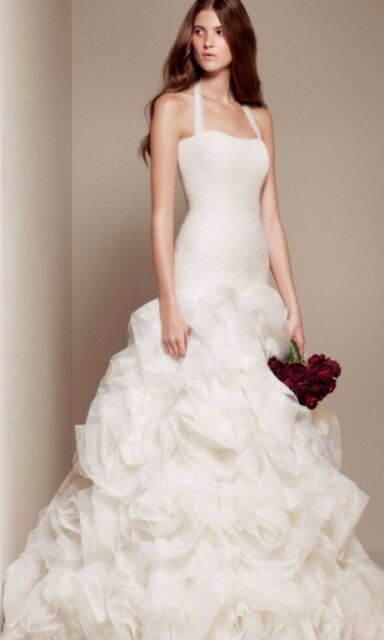 Fit and Flare Halter Ivory Vera Wang White Wedding Dress Unaltered ...