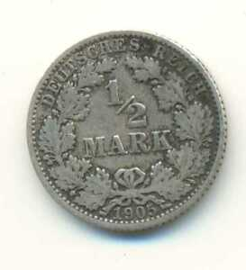 Germany-Empire-Silver-1-2-Mark-1905-A-F-VF