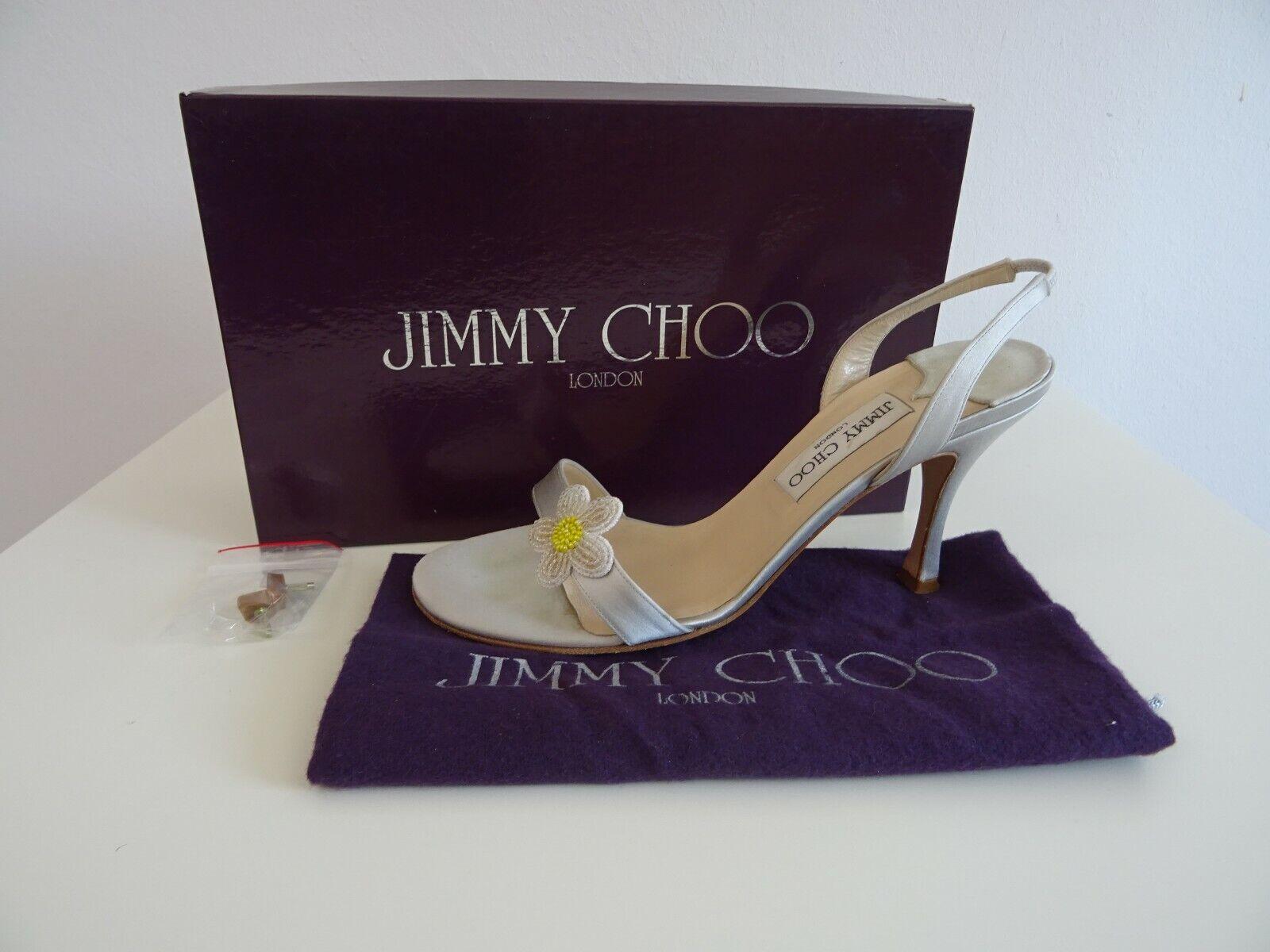 Jimmy CHOO kvinnor skor Sandals Sandal High klackar silver Satin on läder 38