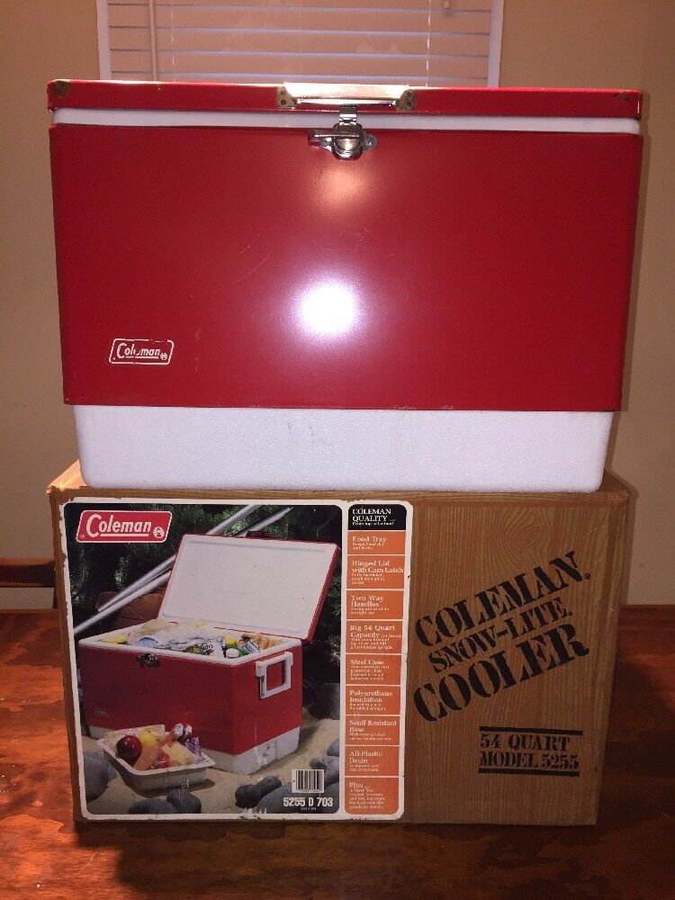 Vintage Coleman Red Metal Cooler Snow-Lite 54 Quart  Model 5255  With Box  brand on sale clearance