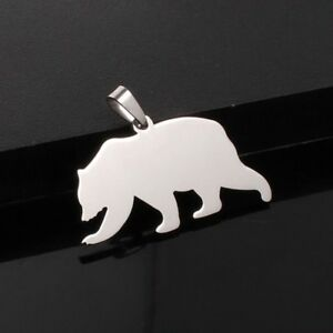 FREE-Shipping-to-USA-Stainless-Steel-Metal-Grizzly-Black-Bear-Pendant-Necklace