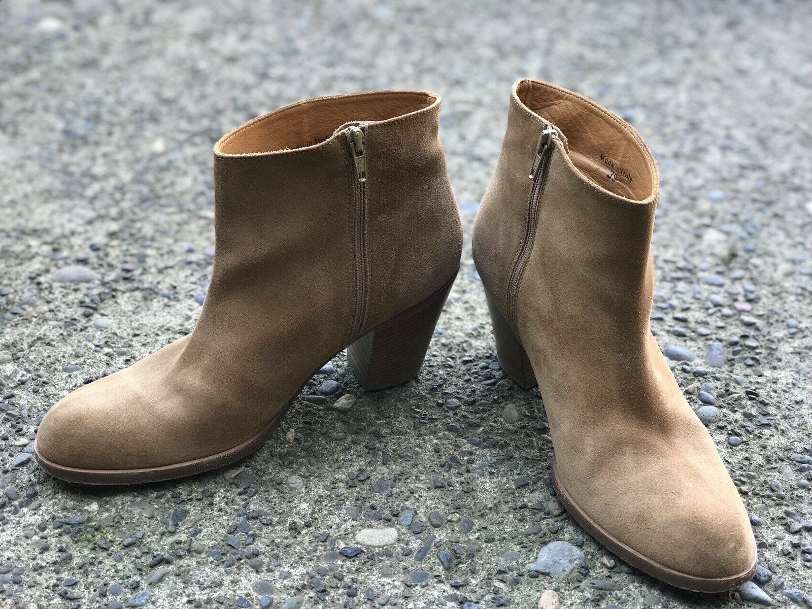 10022-scarpe Saks Fifth Avenue NY Tan Suede Ankle stivali EU 39 (US 9) Made in