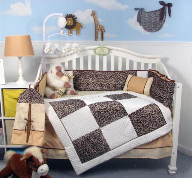White Chenille Giraffe Minky Crib Nursery Bedding Set 13 pcs included Diaper Bag