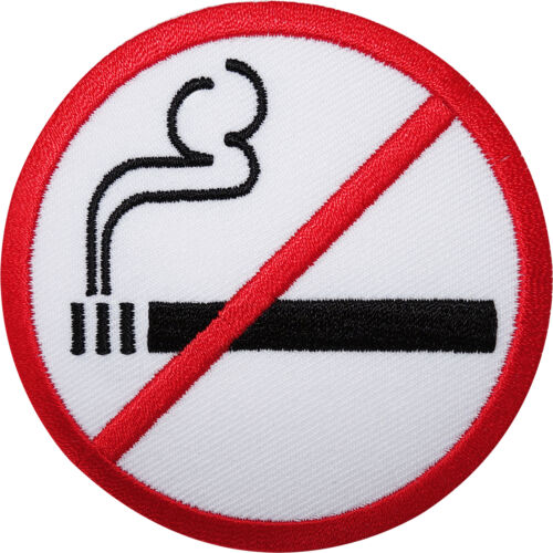 No Smoking Sign Embroidered Iron / Sew On Patch Embroidery Applique Symbol Badge