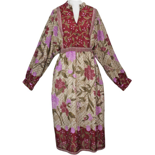 70s Vintage Bird Scarf Print Dress, Boho Hippie Hi