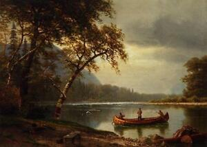 """perfect 36x24 oil painting handpainted on canvas """"Fishing on the river""""N8114"""