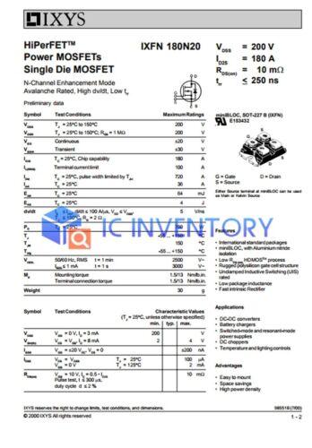 1PCS IXYS IXFN180N20 Module Power Supply New 100/% Quality Guarantee