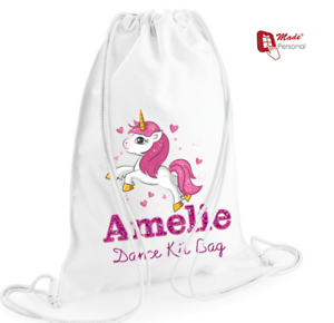 PERSONALISED GIRLS DANCE BALLET KIT PE SCHOOL DRAWSTRING BAG UNICORN DESIGN